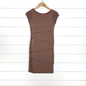 Bailey 44 Brown Red Striped Layered Column Dress